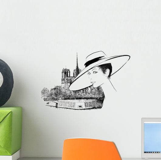 Woman nearby Notre Dame in Paris Wall Decal