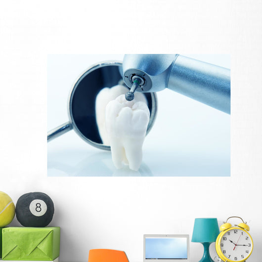 Healthy teeth concept. Real human wisdom tooth and  dental tools Wall Mural