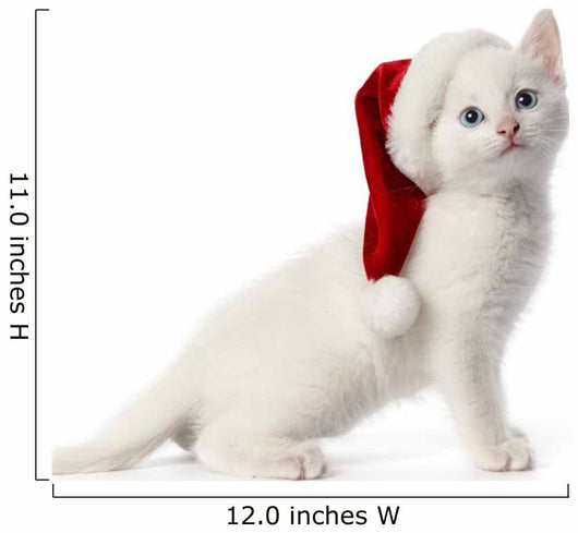 White Kitten With a Christmas Hat Wall Decal
