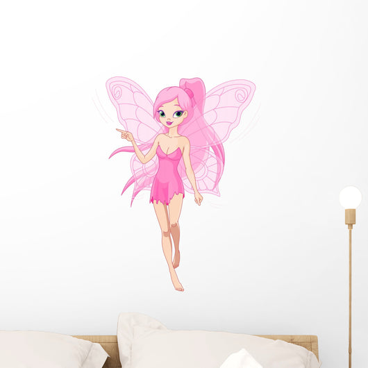 Cute Pink Fairy Pointing Wall Decal