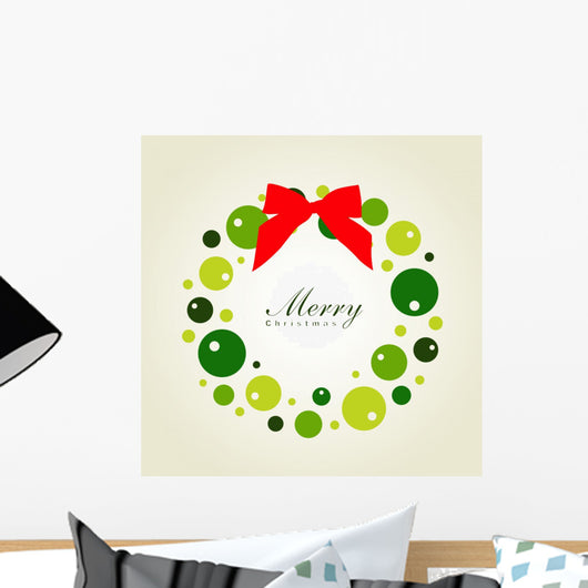 Christmas Wreath Card Template Wall Mural