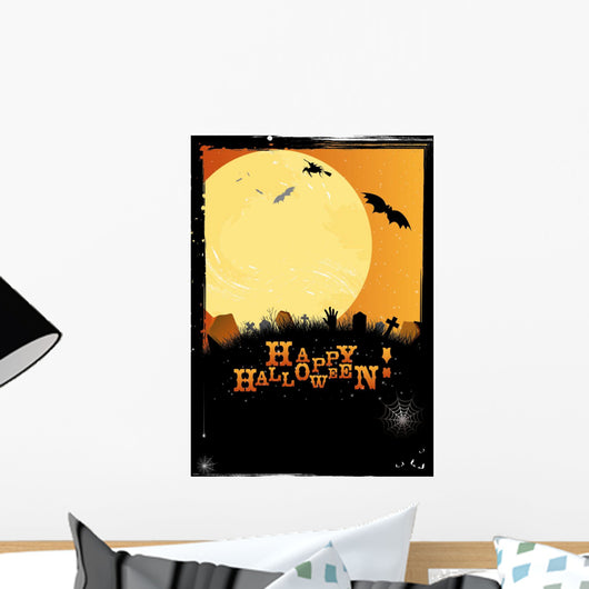 Halloween invitation or card in orange design Wall Mural