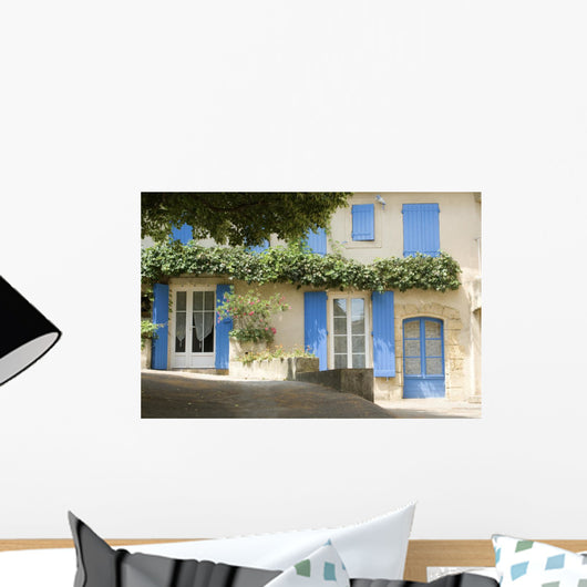 French Village Cottage with blue shutters Provence France Wall Mural