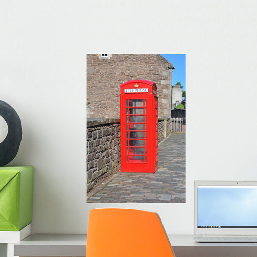 Red British Telephone Box Wall Mural