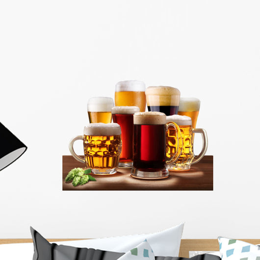 Still-life with beer glasses. Wall Decal