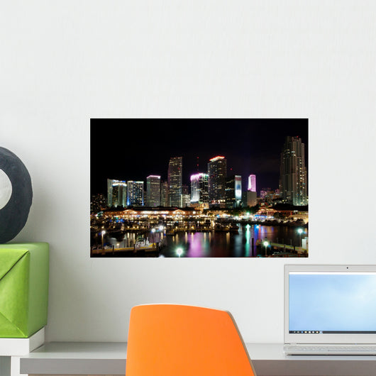 Skyline of downtown Miami at night Wall Mural