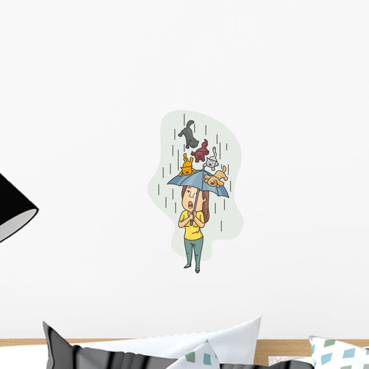 Raining Cats and Dogs Wall Decal