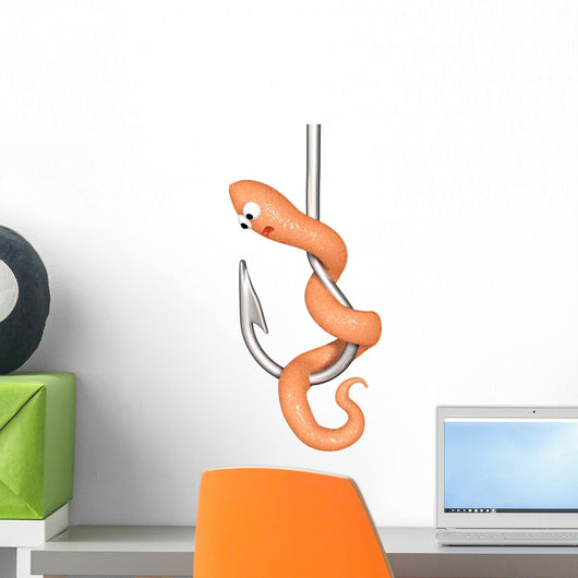 fishing hook worm Wall Decal