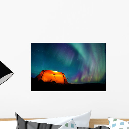 Tent and Northern Lights Wall Mural