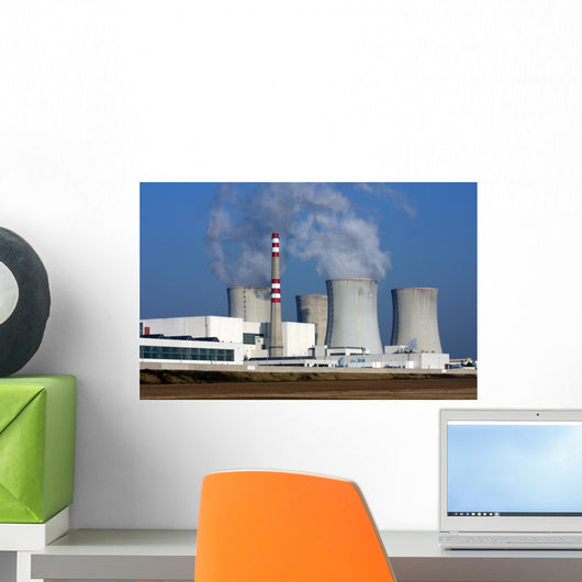 nuclear power plant over the agriculture field Wall Mural