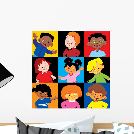 Portraits Happy Children Different Wall Mural