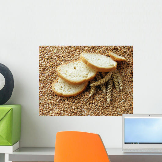 wheat bread and wheat ears and seeds Wall Mural