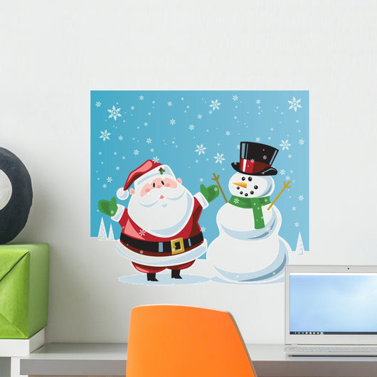 Santa Claus & Frosty the snowman Wall Mural