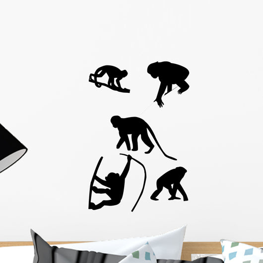 Monkeys Silhouettes Vector Wall Decal Sticker Set