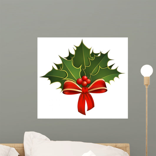 Christmas decoration with holly branches and bow Wall Decal