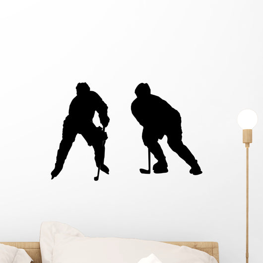 Illustration of Playing Ice Hockey Wall Decal