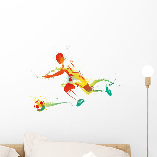 Young Man Playing Soccer Wall Decal