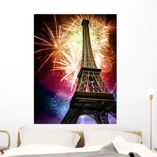eiffel with fireworks Wall Mural