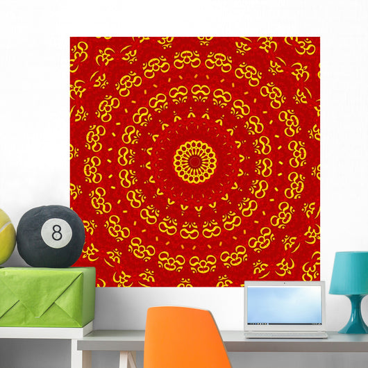 Aum Shanti Mandala - Red Gold Wall Mural