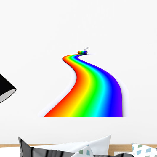 Brush Roller Paints Rainbow Wall Decal