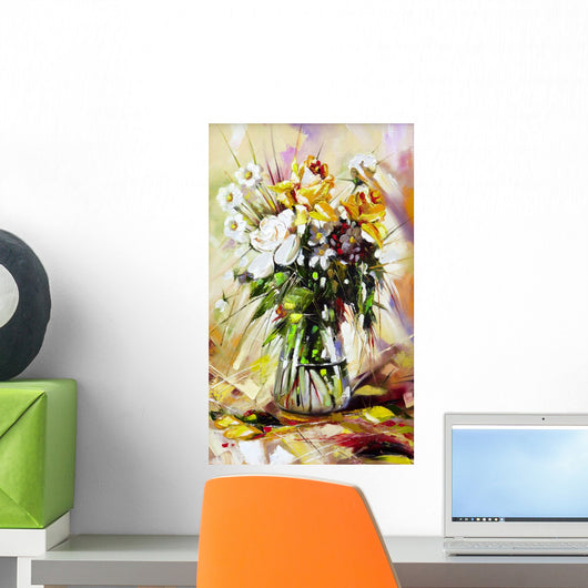 The vase with the flowers drawn by oil on a canvas Wall Mural