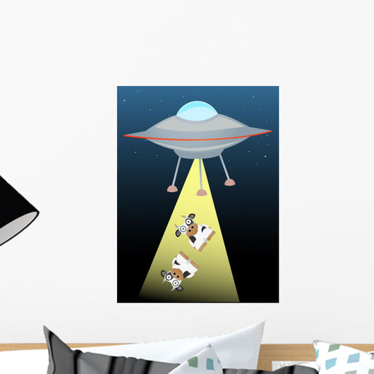 Ufo beaming up two cows in beam of light Wall Mural