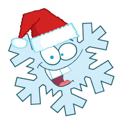 Cartoon Snowflake Character with Santa Hat Wall Decal