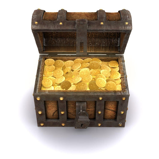 3d Treasure Chest Is Full of Gold Wall Decal