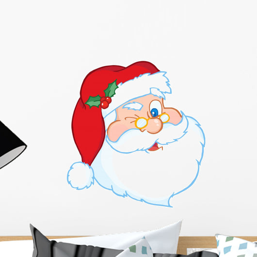 Santa Claus Winking Classic Cartoon Head Wall Decal