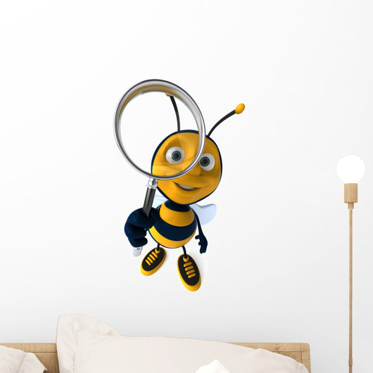 Bee and Magnifying Glass Wall Decal