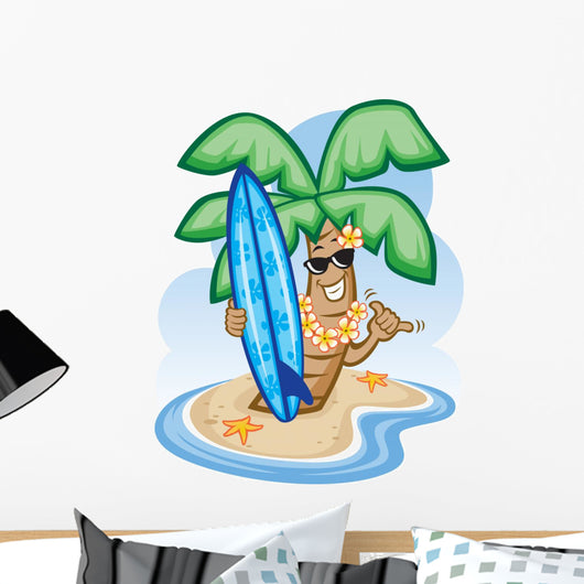 Palm Tree and Surfboard Wall Decal