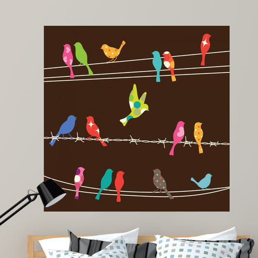 Birds on Wires Wall Mural