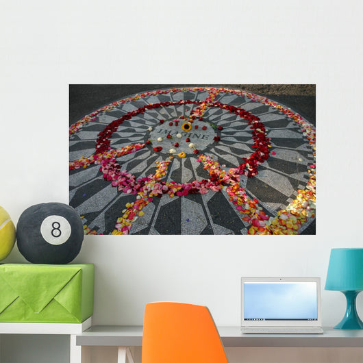 Imagine Monument With Flowers in Peace Sign Wall Mural