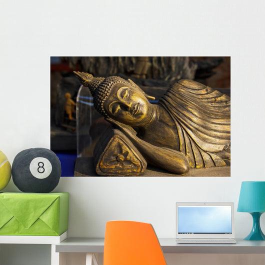 Sleeping budha wooden Wall Mural
