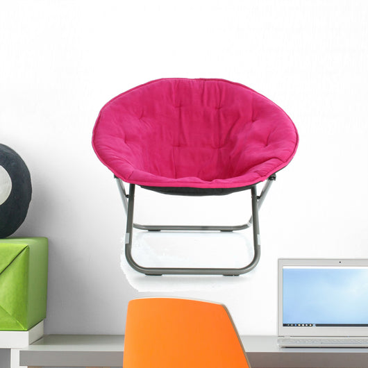 Hot Pink Chair over White Wall Decal