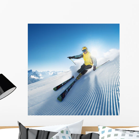 Skier in Mountains Wall Mural