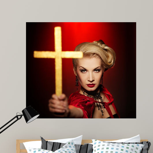 Attractive Blond Lady With a Golden Cross Wall Mural