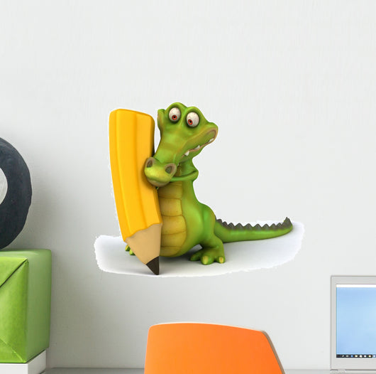 Crocodile and Pencil Wall Decal