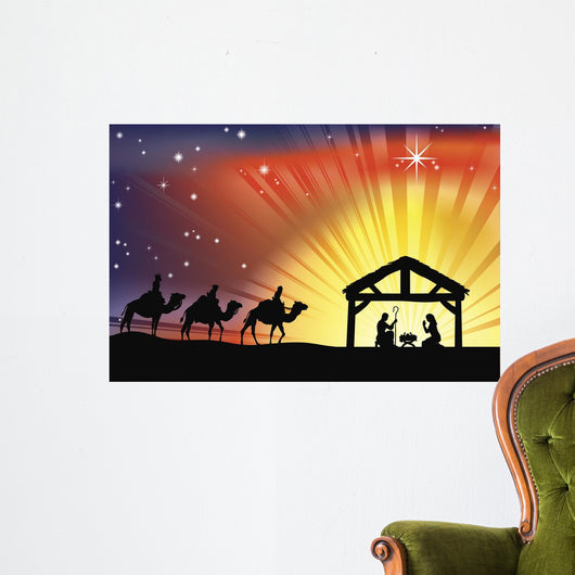 Christian Christmas Nativity Scene Wall Mural