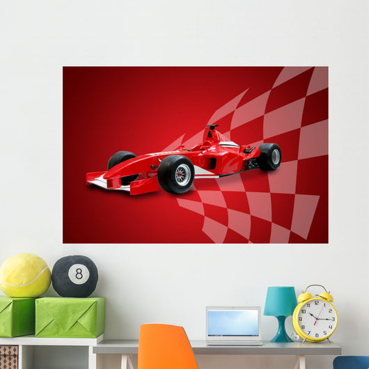 Red Formula One Car and Racing Flag Wall Mural