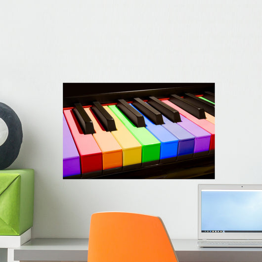 the rainbow piano Wall Mural