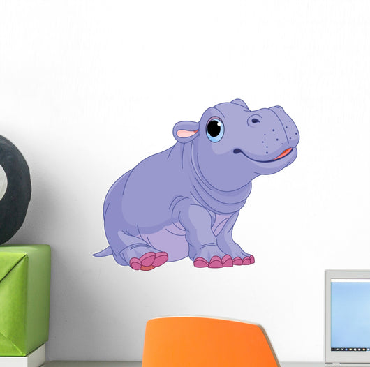 Cartoon Baby Hippo Boy Wall Decal