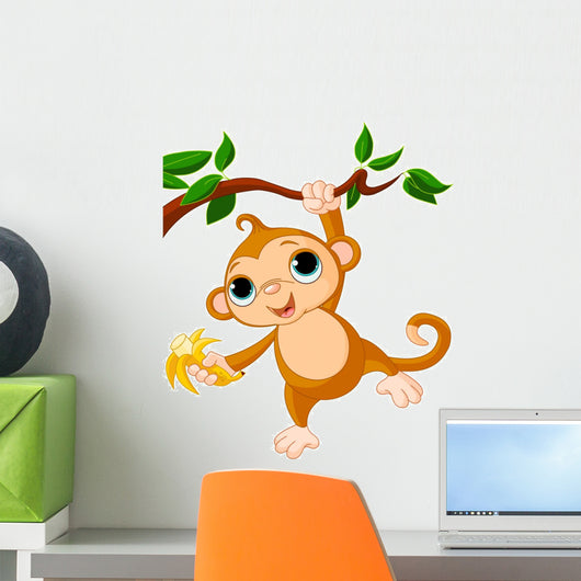 Baby Monkey on a Tree Wall Decal