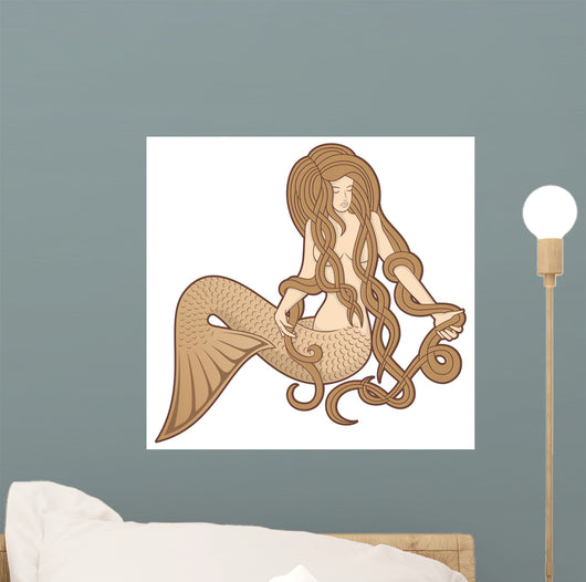 Sitting Mermaid Wall Decal