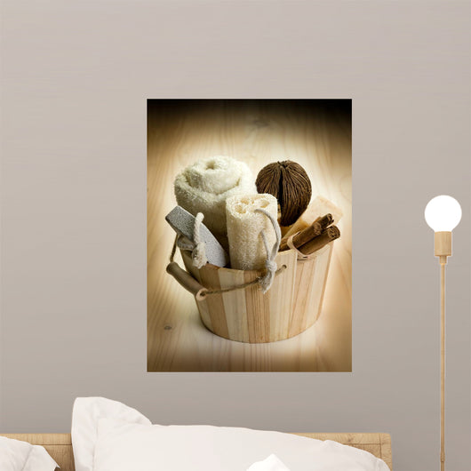 Bucket with Bath Accessories Wall Mural