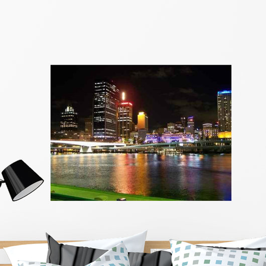 Brisbane Skyline Night Wall Decal