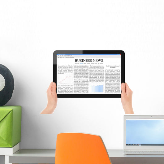 Reading News Tablet PC Wall Decal