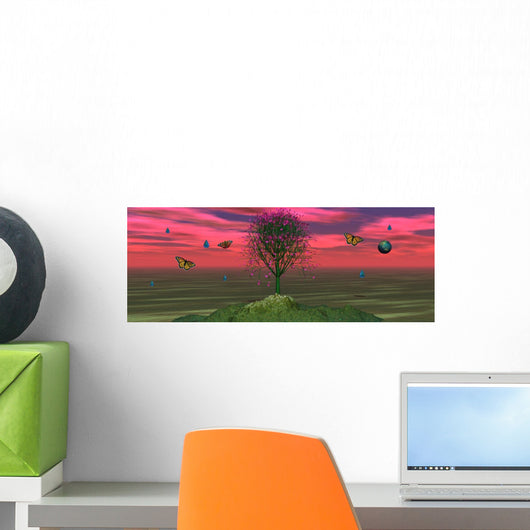 Abstract CG Rendered Water and Tree Landscape Wall Decal