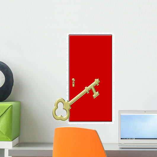 Red Door with Large Wall Decal