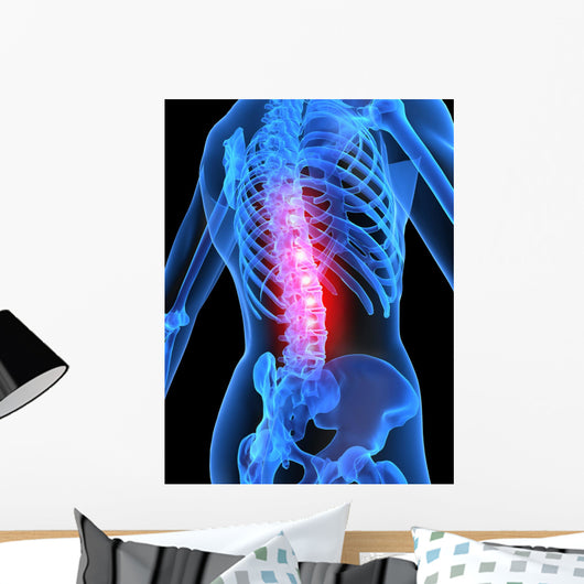 Skeleton with Back Pain Wall Decal